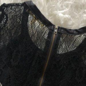Monteau Dresses - Grey knit dress with black lace details